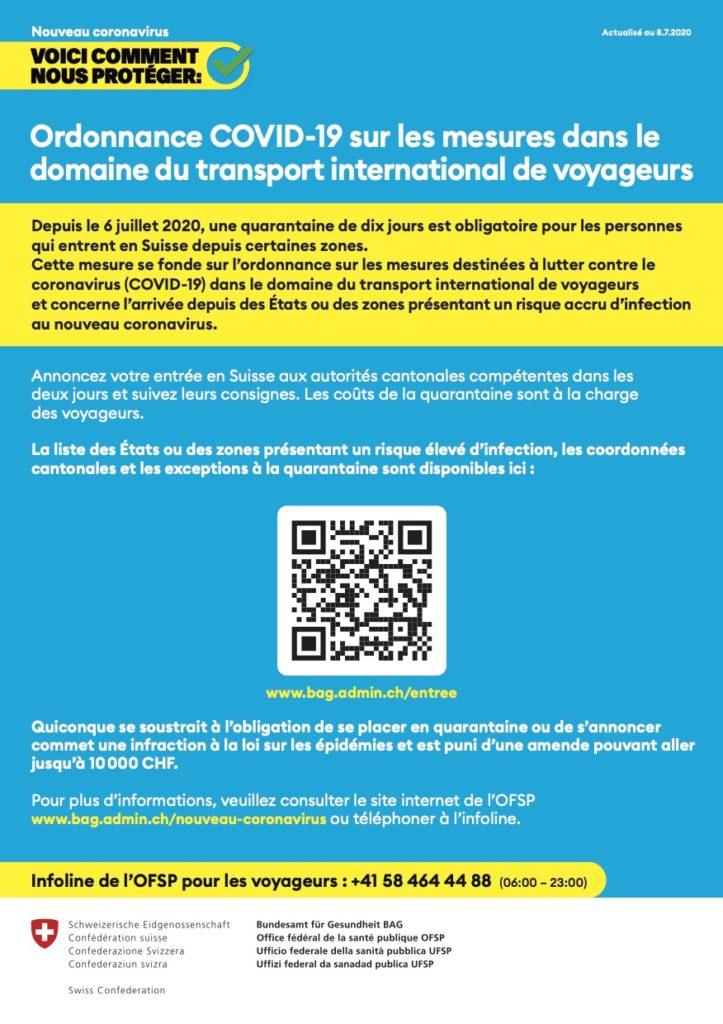 COVID-19_Mesures dans le domaine du transport international de voyageurs_Feuille d'info A4